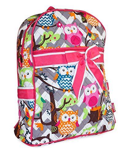 N GIL Quilted Pink Grey Chevron Owls Backpack