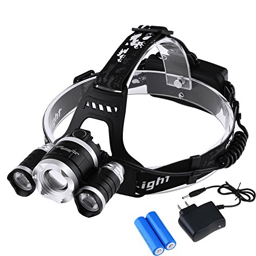 LED Headlamp Headlight Flashlight - Zoomable Super Bright , 4 Modes 3 XM-L CREE T6 LED, Rechargeable Batteries, Adjustable - Outdoor Hiking Camping Riding Fishing Hunting (Mk3 Fog Lights compare prices)