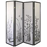 ORE International Black 4-Panel Bamboo Floral Room Divider Screen