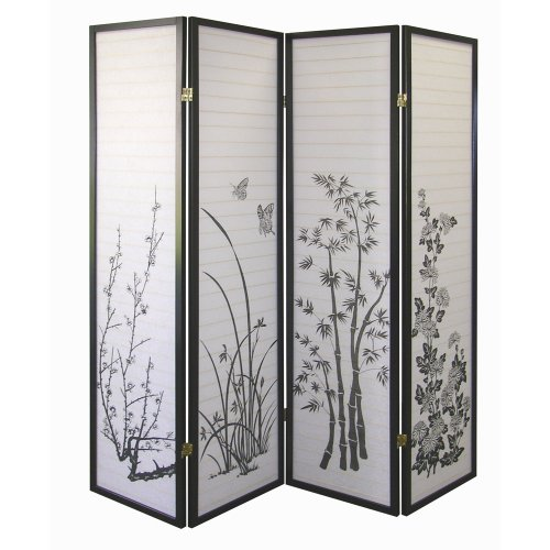 Why Should You Buy ORE International Black 4-Panel Bamboo Floral Room Divider Screen