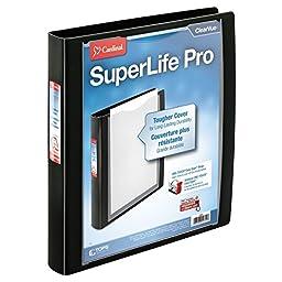 Cardinal SuperLife Pro Easy Open ClearVue Locking Slant-D Ring Binder, 1-Inch, Black (54651)