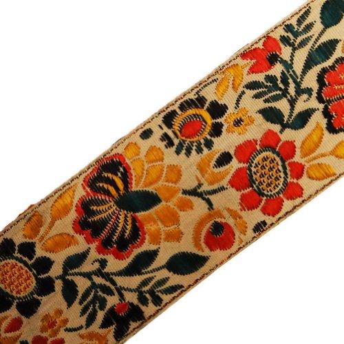 Beige Jacquard Ribbon Trim Flower Design Decorative Lace Sewing Craft India 3 Yd
