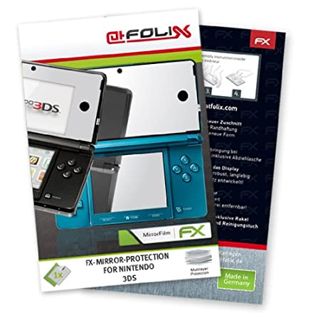 2 x atFoliX FX-Mirror Stylish screen protector for Nintendo 3DS / 3D-S 3-DS N3DS - Fully mirrored screen protection! Highest Quality - Made in Germany!