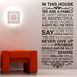 Newsee Decals Large House Rules Family love Wall Decals Stickers Vinyl wall art Inspirational quotes and saying home decor Quote Words Room Art Mural Wall Sticker Decal Black