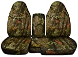 2004 to 2012 Ford Ranger 60-40 Camouflage Truck Seat Covers Solid Armrest Cover Included (Real Green Tree Camouflage)