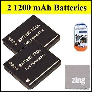 Panasonic Lumix DMC-TS2 DMC-TS3 DMC-TS4 Digital Camera Battery - Qty 2 DMW-BCF10 Batteries + LCD Screen Protectors + Micro Fiber Cleaning Cloth
