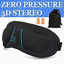 AMAZKER 3D Sleep Mask & Ear Plugs Large Eye Cavities More Comfortable Anti-fade Anti-bacterial Anti-mite Durability Blocks out most sunlight Includes Carry Pouch - For Travel Shift Work & Meditation