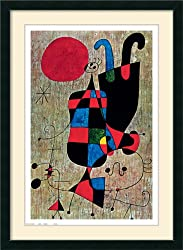 People and Dog under Sun (Upside-Down Figure) Framed Print by Joan Miro Framed