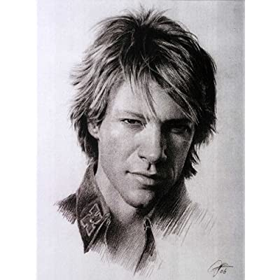 Jon Bon Jovi Sketch Portrait, Charcoal Graphite Pencil Drawing Poster