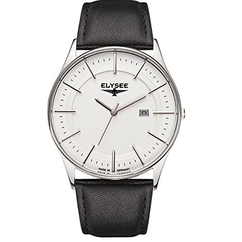 ELYSEE Made in Germany Diomedes II 83015L 42mm Stainless Steel Case Black Calfskin Synthetic Sapphire Men's Watch