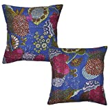 Indian Handmade Kantha Work Design Floral Print Cotton Cushion Cover 16 X 16 Inches Set Of 2 Pcs