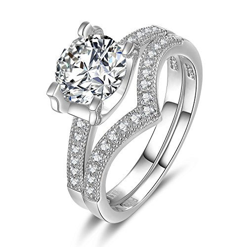 VIKI LYNN Bridal Set Engagement Rings S925 Sterling Silver 1ct Round Cubic Zirconia Wedding Anniversary Ring 7.5