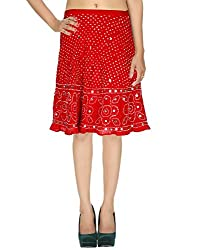 Dazzling Casual Skirt Cotton Red Ethnic Tie Dye For Women By Rajrang