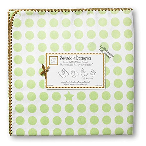 SwaddleDesigns Organic Ultimate Receiving Blanket, Dots and Stars with Mocha Trim, Kiwi