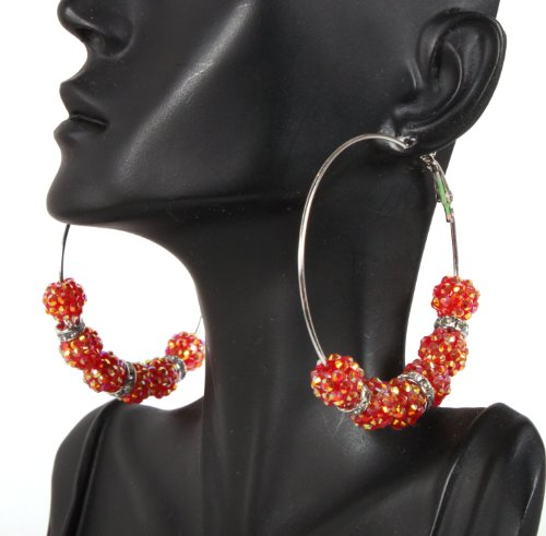 Basketball Wives Red 2.5 Inch Hoop Earrings with Six 10mm Shamballah Balls and Rondelle Spacers Lady Gaga Paparazzi Mob Wives