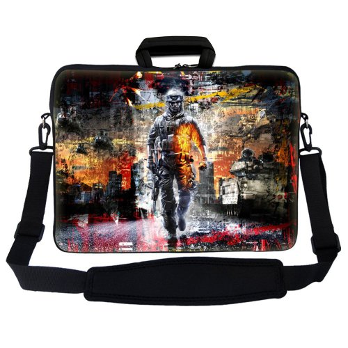 "Casebuy 17"" 17.3"" 17.4"" Inch Soldier Design Neoprene Notebook Laptop Soft Bag Sleeve Case Cover Pouch With Adjustable Shoulder Strap For Apple Macbook Pro 17 /Hp Envy 17 Series/ Pavilion Dv7/Dv7T/G72/G72T/G7T/M7 Series / Dell Inspiron 17 17R I17Rm I17Rv X front-631557"
