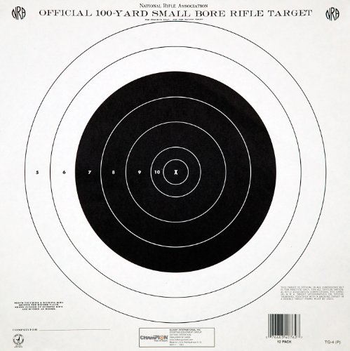 Champion Traps & Targets NRA Paper GTQ-4(P) 100-Yard Single Bulls-Eye to Train or Qualify Target (Pack of 12)