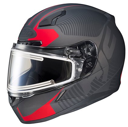 Hjc Cl-17 Snowmobile Helmet With Electric Shield Mission Graphics Flat Black/Red Md 133-813