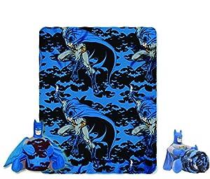 batman dark knight cuddly snuggle pillow and fleece blanket 2 piece travel set from