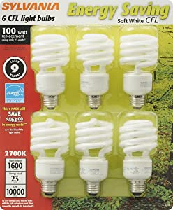 Sylvania 29490 23-watt CFL Twist Light Bulb, Soft White, 6 Pack