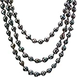 "HinsonGayle Limited Edition Handpicked 10-11mm Ultra-Iridescent Black Fireball Baroque Cultured Freshwater Pearl Rope Necklace (65"") + Luxurious Gift Box"