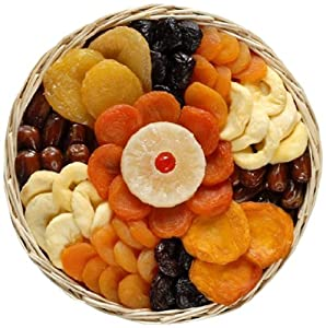 Broadway Basketeers Dried Fruit Round Basket Gift Tray