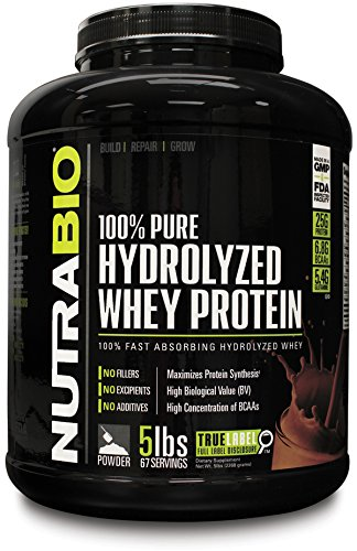 NutraBio 100% Pure Hydrolyzed Whey Protein (5 Pounds Chocolate) - Ultra Fast...