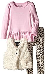 Calvin Klein Little Girls\' Fur Vest with Tee and Animal Print Pants, Cream, 3T
