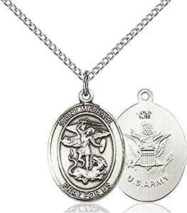 .925 Sterling Silver Saint St St. Michael / Army Soldier Gift Medal Pendant 3/4 x 1/2 Inches Police Law Officers/EMTs-8076- Comes with a .925 Sterling Silver Lite Curb Chain Neckace And a Black velvet Box