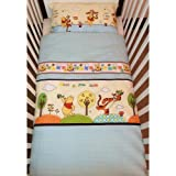 Disney Winnie the Pooh What a fun day! Bedding Set for Cotbed Blue