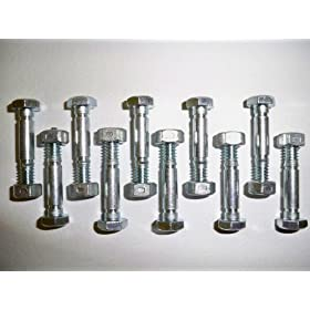10 Pack, Shear Pins (Bolts) and Nuts, Replaces Ariens 532005, 53200500, 05907100