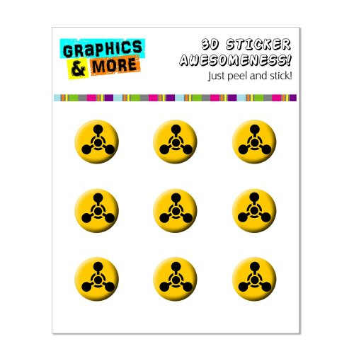 Graphics and More Chemical Symbol - Black Yellow - Chemical Weapon Home Button Stickers Fits Apple iPhone 4/4S/5/5C/5S, iPad, iPod Touch - Non-Retail Packaging - Clear