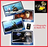 Disney Store Exclusive Wall-e Pin and 4 Lithographs Pixar