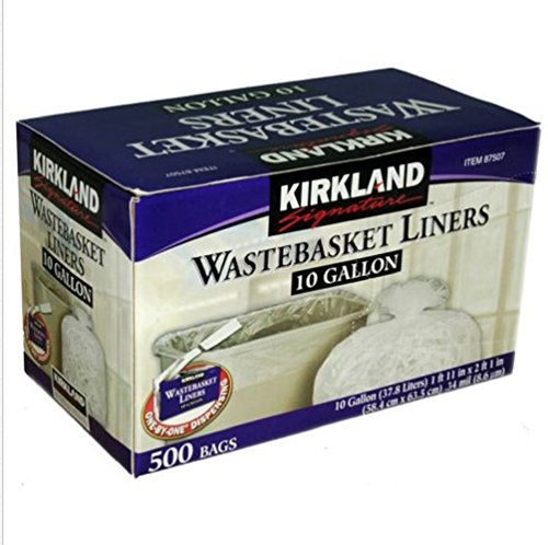 Kirkland One-By-One dispensing Signature Clear Wastebasket Liner ,10 Gallon ,500 Count (Commercial Waste Basket Liners compare prices)