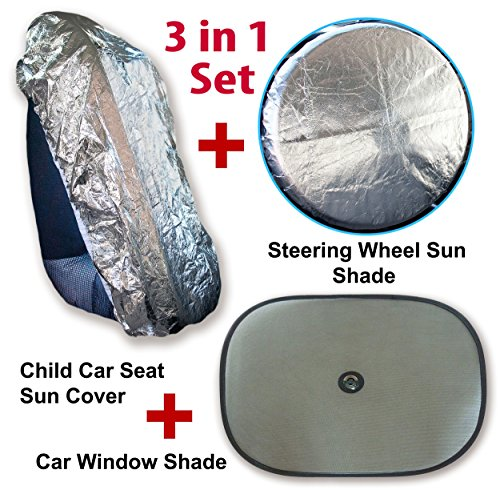 A1AS-Baby-Car-Seat-Cover-Sun-Protector-w-Mesh-Window-Shade-Steering-Wheel-Heat-Reflector-3-in-1-Set-Stop-Child-Infant-Toddler-from-Burnt-Skin-on-Hot-Buckles-Front-or-Rear-Facing-Safety-Seats