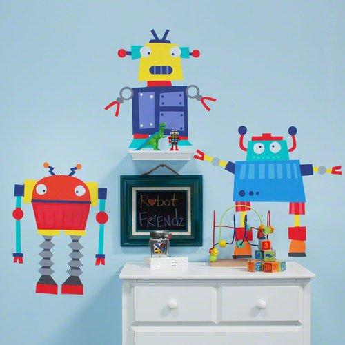 Oopsy Daisy 54 by 30-Inch Peel and Place Robots Rule Medium by Vicky Barone, Medium