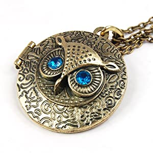 SWT Antiqued Brass Owl Locket Long Pendant Necklace Blue Zircon Eye