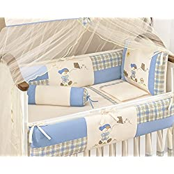 Kit Themed Blue and Ivory Baby Boys 10 Pcs Nursery Crib Set Embroidered
