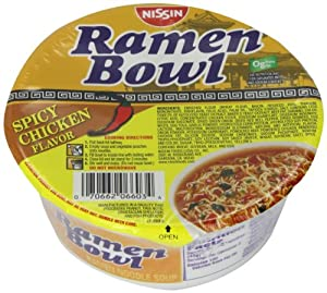 Nissin Ramen Bowl, Spicy Chicken, 3.3 Ounce (Pack of 6) by Harbor Wholesale Grocery, Inc.