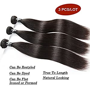 Nefertiti Hair Brazilian Straight Hair Extensions 3 Bundles 100% Unprocessed Real Virgin Human Hair Weave 300g Natural Hair Black (10inch 12inch 14inch)