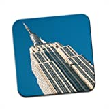 Empire State Building New York City Single Premium Glossy Wooden Coaster