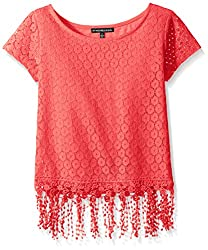 My Michelle Big Girls' Crochet Short Sleeve Top with Fringe Trim At Hem, Coral, Medium