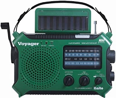 Kaito Voyager KA500IP Solar/Dynamo AM/FM/SW NOAA Weather Radio with Alert & Cell Phone (iPod/iPhone) Charger, Color Green from Kaito