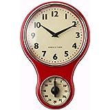 ProCook Retro Kitchen Clock & Timer Red