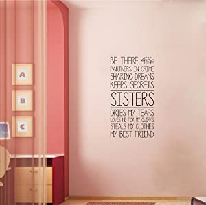 Sisters m wall saying vinyl lettering home for Best home decor from amazon
