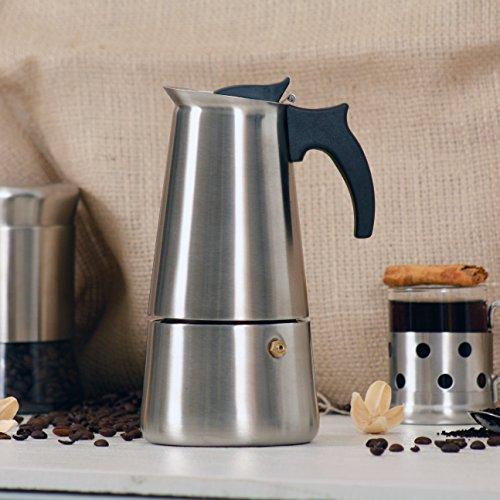 Holstein Housewares H-08004 4-Cup Stainless Steel Espresso Maker - Satin Finish
