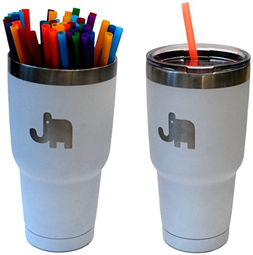 Jungle Mugs, Stainless Steel Travel Tumbler 30 oz Elephant Eco Friendly Powder Coated Insulated (White) lid