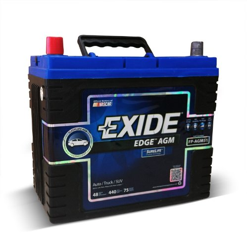 Exide Edge FP-AGM51 Flat Plate AGM Sealed Automotive Battery