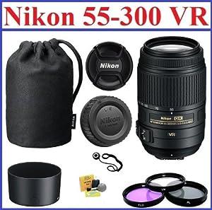 Nikon AF-S NIKKOR 55-300mm f/4.5-5.6G ED VR Zoom Lens with 5-Year Nikon USA Warranty: Bundle Includes Nikon Lens Pouch, Nikon Lens Hood, 3-Piece 58mm Filter Kit, Cap Keeper and Lens Cleaning Kit