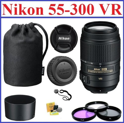 Nikon Af-S Nikkor 55-300Mm F/4.5-5.6G Ed Vr Zoom Lens With 5-Year Nikon Usa Warranty: Bundle Includes Nikon Lens Pouch, Nikon Lens Hood, 3-Piece 58Mm Filter Kit, Cap Keeper And Lens Cleaning Kit